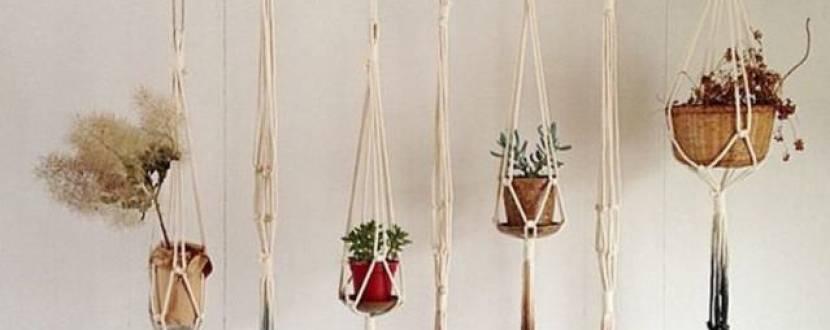 Мастер-класс «Макраме плетение кашпо-навеса для цветов»