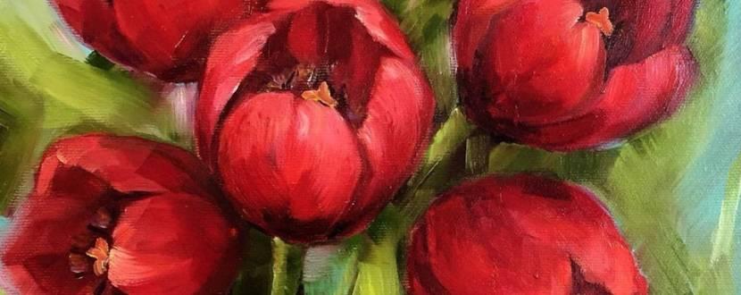 Майстер-клас з олійного живопису  «Тюльпани»