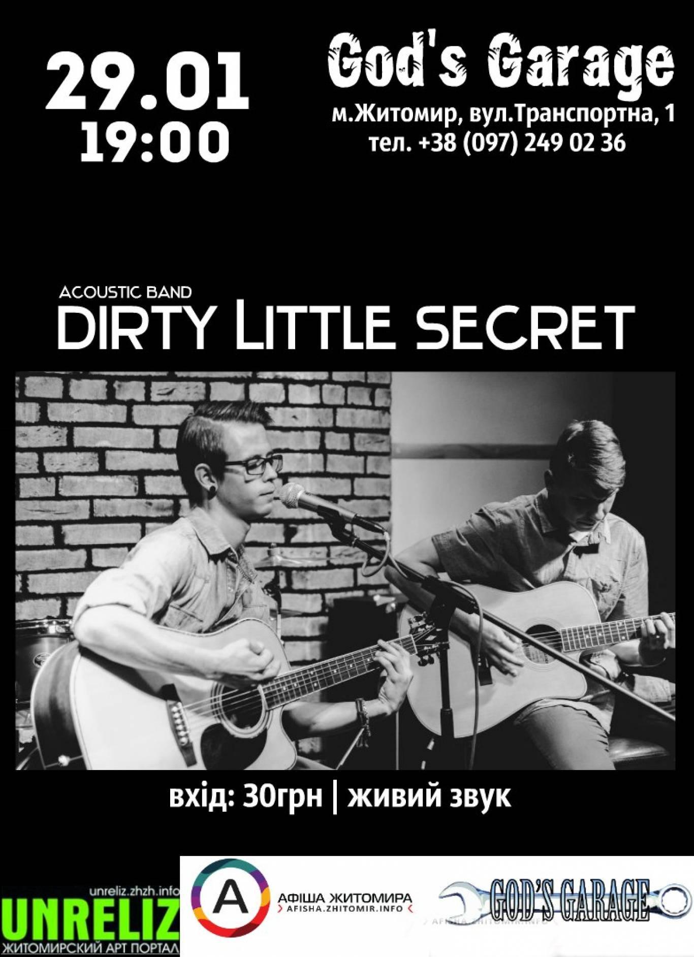 DIRTY LITTLE SECRET- вечір акустичної музики в GOD'S GARAGE