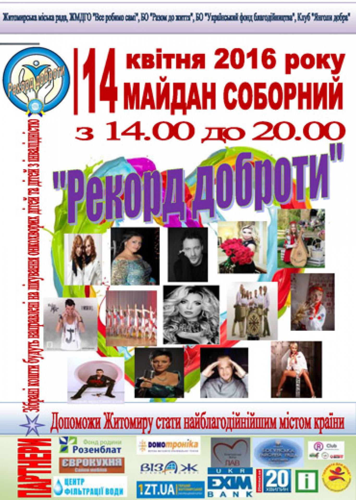 """Встановлення """"Рекорду доброти"""" у Житомирі"""
