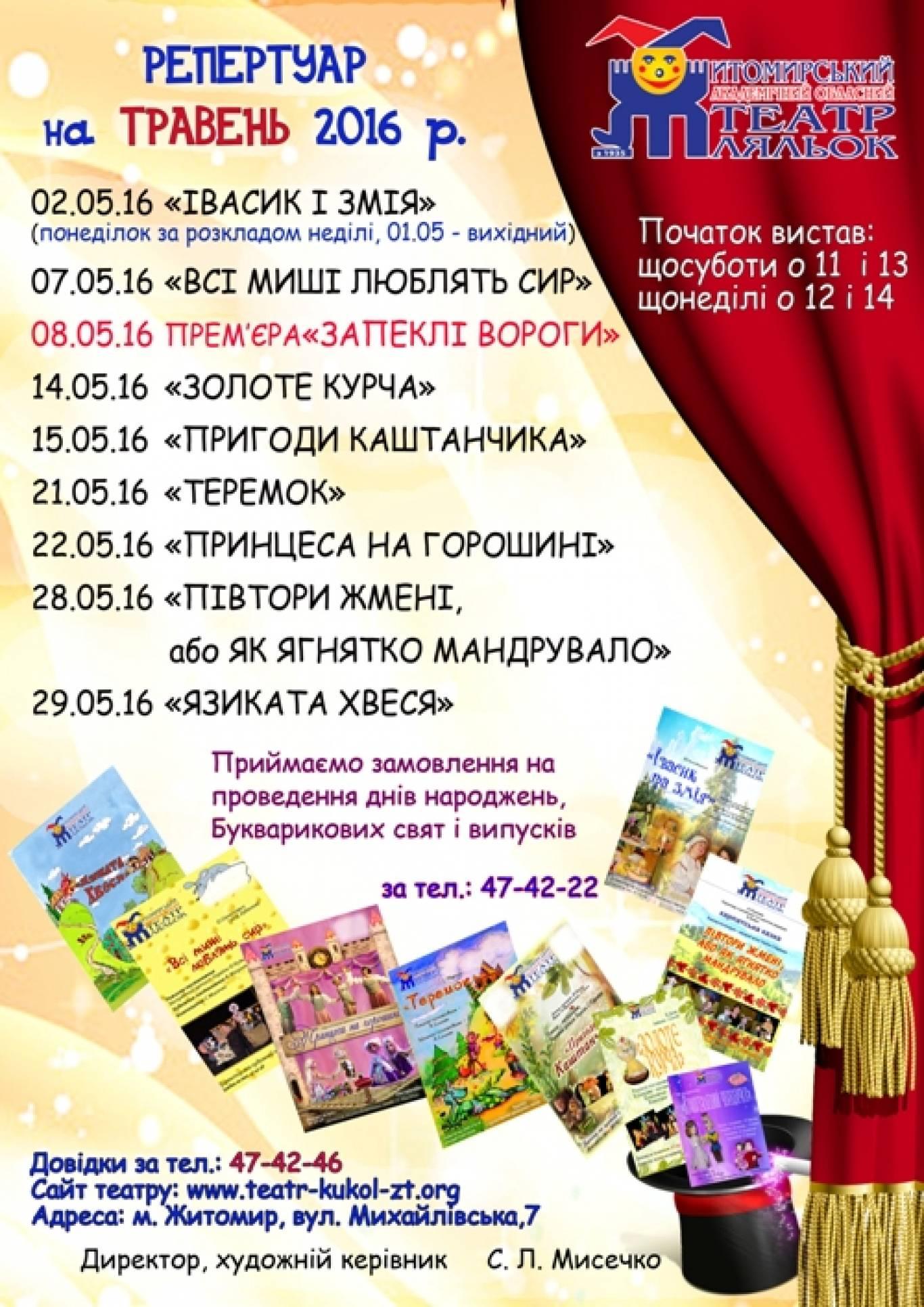 Репертуар лялькового театру на травень 2016 року