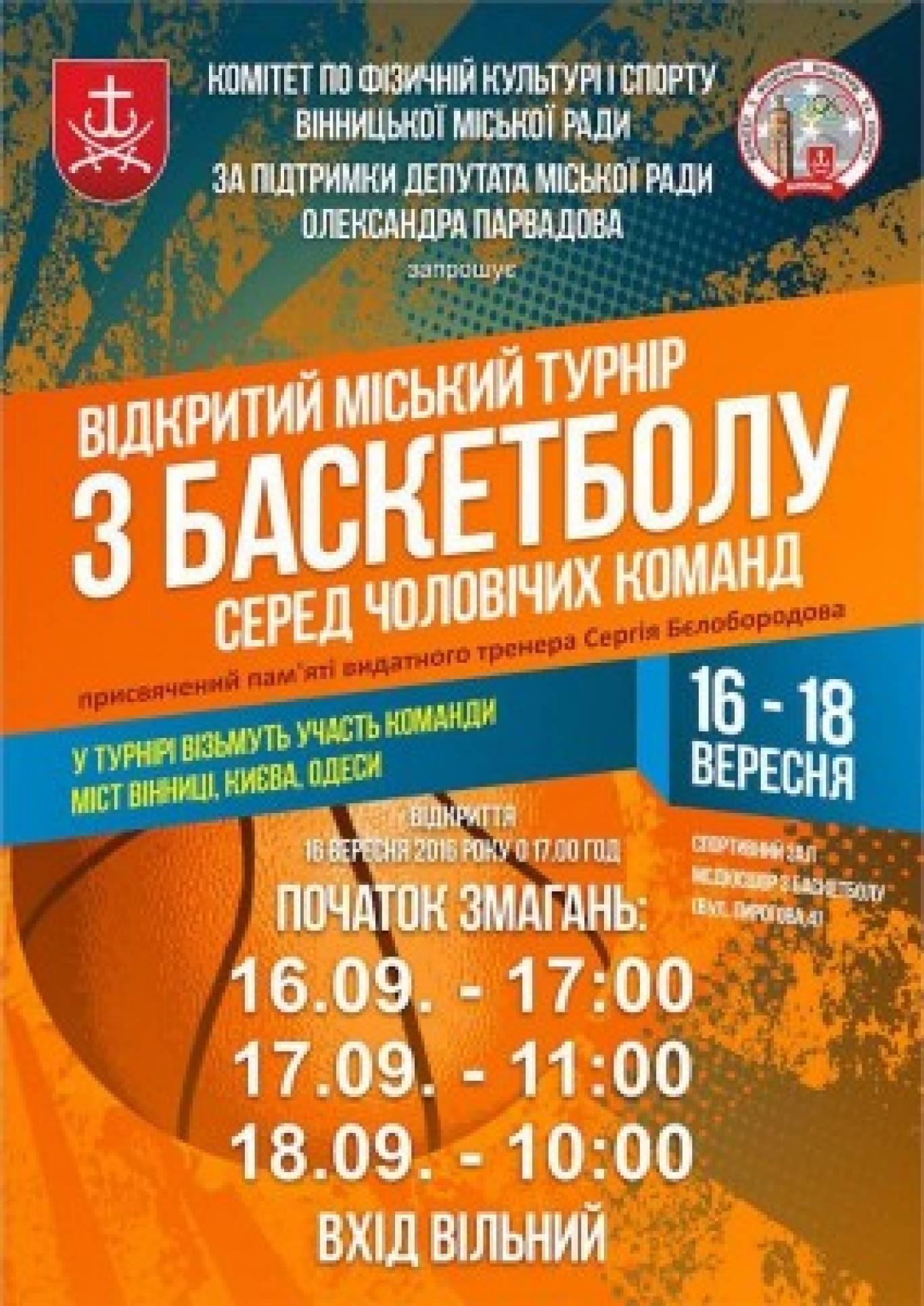 Відкритий міський турнір по баскетболу