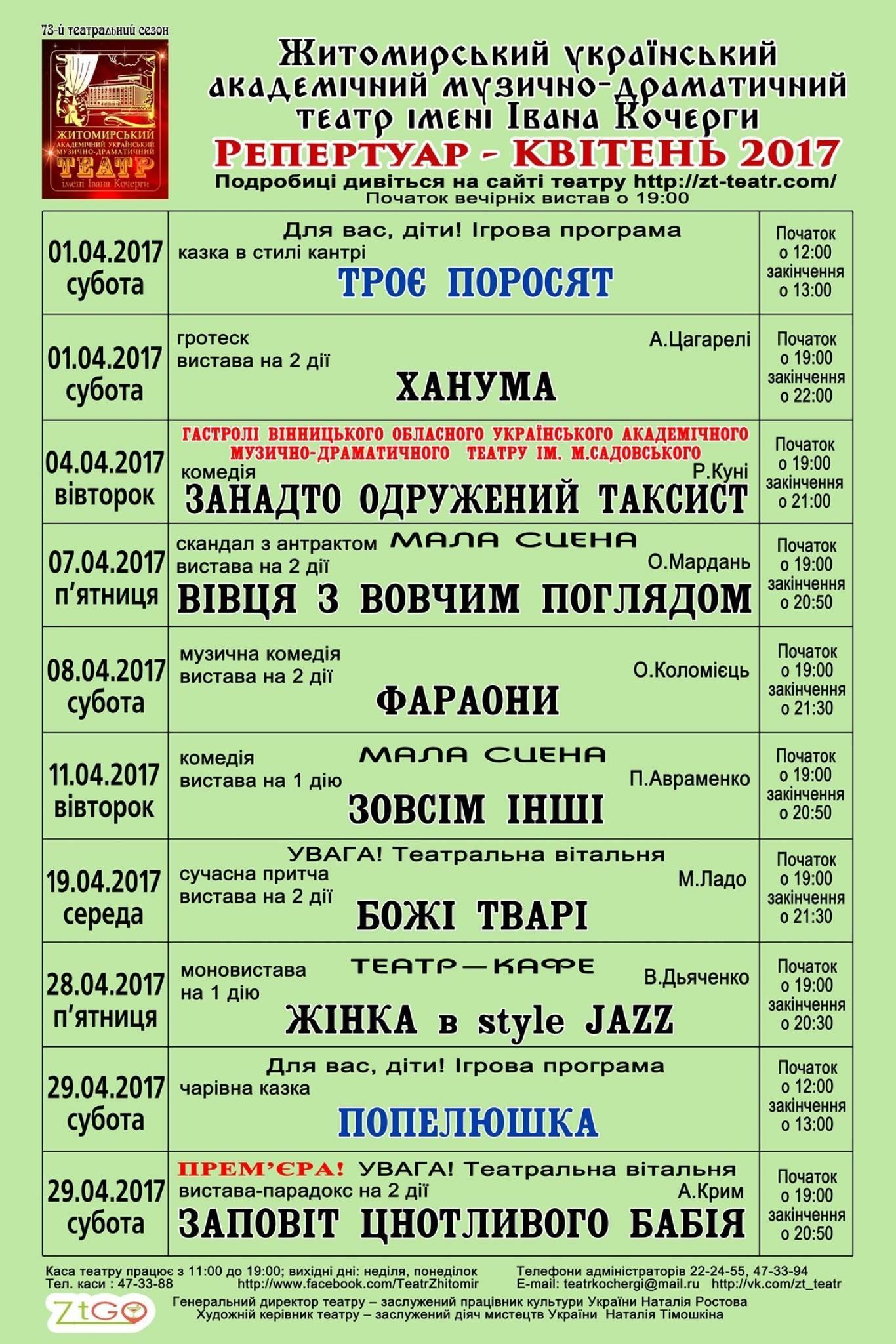 Репертуар Житомирського драмтеатру на Квітень